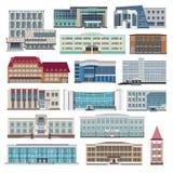 Ustawia z nowożytnym domów, chałupy i budynku mieszkaniem, wektor Zdjęcie Royalty Free