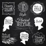Ustawia zakładów fryzjerskich elementy. Kreda. Zdjęcia Royalty Free