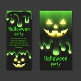 Ustawia zaproszenia Halloween przyjęcia z jasnym śluzu obcieknięciem royalty ilustracja
