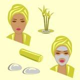 Ustawia zdrój twarzową opiekę zdjęcia royalty free