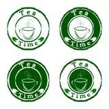 ustawia znaczków herbaty czas ilustracji