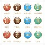 Ustawia zodiaka podpisuje wewnątrz okrąg ramę Obraz Stock