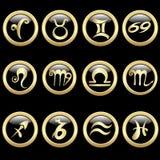 Ustawia zodiaka podpisuje wewnątrz okrąg ramę Zdjęcia Royalty Free