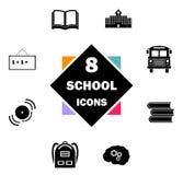 ustawiająca ikony tylna szkoła Edukacj ikony zawierają budynek szkoły, Otwierają książkę, podręczniki, plecak, autobus, Bell, Bla Ilustracja Wektor