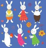 ustawiający śmieszni Easter króliki Obraz Royalty Free