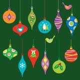 ustawiający Boże Narodzenie ornamenty ilustracja wektor