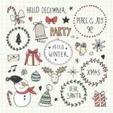 ustawiający Bożych Narodzeń doodles Obrazy Royalty Free