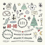 ustawiający Bożych Narodzeń doodles Ręcznie pisany wektorowy literowanie Fotografia Stock