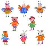 ustawiający elementów dekoracyjni zwierzęta domowe ilustracji