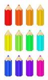 ustawiający kolorów ołówki Fotografia Stock