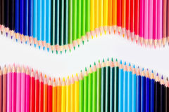 ustawiający kolorów ołówki obraz stock