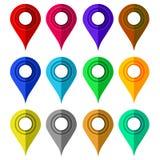 ustawiający kolorowi markiery Mapa markiera ikony Płaski projekt Fotografia Royalty Free