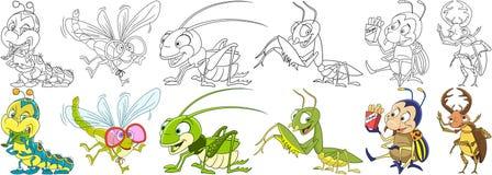 Ustawiający kreskówka insekty royalty ilustracja