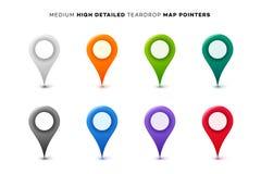 ustawiający mapa kolorowi markiery Kolekcja Nowożytnej wysokości Szczegółowi pointery spokojnie redaguje projekt elementów wektor royalty ilustracja