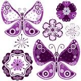 ustawiający motyli abstrakcjonistyczni kwiaty ilustracji