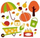 Ustawiający ogrodowi jesień elementy Obraz Stock