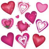 ustawiający piękni dekoracyjni serca Obraz Stock
