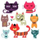 Ustawiający różnorodni śmieszni koty Obrazy Stock