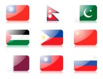 ustawiającej 4 azjatykciej flaga Obrazy Stock