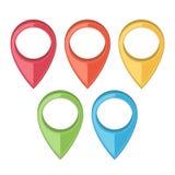 ustawiający mapa pointery Gps ikony Barwiona kreskowa sztuka projekt retro Zdjęcie Stock