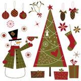 ustawiający Boże Narodzenie elementy Obrazy Stock