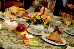 ustawienie tabeli posiłek Zdjęcie Stock