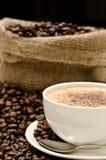 ustawiona fasoli cappuccino kawa Obraz Royalty Free