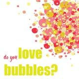 ¿Usted ama burbujas? Burbujas coloridas en la esquina superior Ilustración del vector en el fondo blanco Foto de archivo