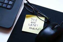 Usted es atrasado otra vez Imagen de archivo libre de regalías