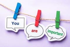 Usted es importante Fotos de archivo libres de regalías