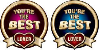 Usted es las insignias brillantes del mejor oro del amante fijadas Imagenes de archivo