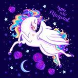 Usted es mágico Unicornio hermoso del arco iris entre las estrellas y las rosas Vector foto de archivo