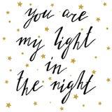 Usted es mi luz en la tarjeta de la noche Imágenes de archivo libres de regalías