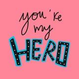 Usted es mi palabra y ejemplo del héroe en fondo rosado