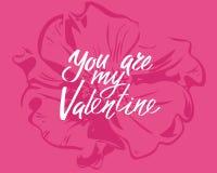 Usted es mi tarjeta del día de San Valentín, las letras escritas mano Día de San Valentín romántico de la inscripción de la tarje foto de archivo