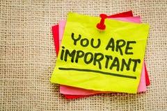 Usted es nota importante del recordatorio Fotos de archivo libres de regalías
