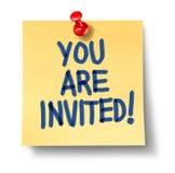 Usted es papel invitado del amarillo de la nota de la oficina Imagen de archivo libre de regalías