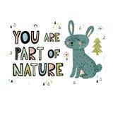 Usted es parte de la mano de la naturaleza dibujada poniendo letras a la impresión libre illustration