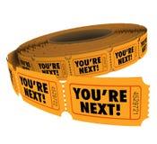 Usted es rollo siguiente del boleto toma su servicio de atención al cliente de la vuelta Fotos de archivo libres de regalías