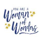 Usted es una mujer de maravillas stock de ilustración