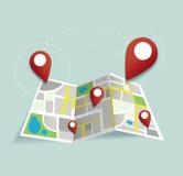 Usted está aquí, fija el icono de la ubicación y traza el vector, el concepto de viaje libre illustration
