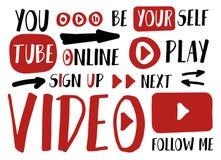Usted etiquetas engomadas del jugador del tubo para el vlog, bloguear o el sistema video de los botones del canal Ilustración del libre illustration