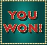 Usted ganó el juego, lotería, juego, bandera del vector del casino Foto de archivo libre de regalías