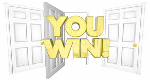 Usted gana el ejemplo de Lucky Choice Open Door Words 3d Foto de archivo