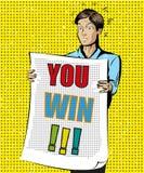 Usted gana el ejemplo del arte pop del vintage del vector libre illustration