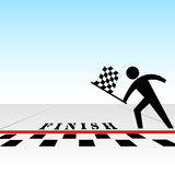 Usted gana la carrera y consigue el indicador checkered en la meta Foto de archivo