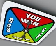 Usted gana la competencia Victory Lucky Move del hilandero del juego de mesa Foto de archivo