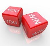 Usted gana - palabras en dados rojos Imagen de archivo libre de regalías
