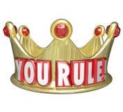 Usted gobierna la regla de rey Queen Monarch Top de las palabras de la corona del oro Fotografía de archivo libre de regalías