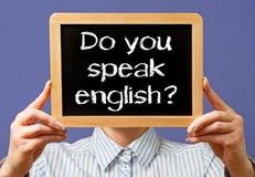 Usted habla la muestra inglesa Fotografía de archivo libre de regalías